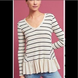 Anthropologie Thermal Striped V Neck Ruffle Tee